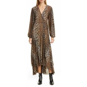 ガニー GANNI レディース ワンピース ミドル丈 ワンピース・ドレス Leopard Print Mesh Long Sleeve Midi Dress Leopard