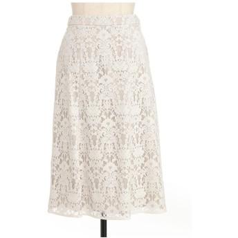 LESTERA フロッキー加工レーススカート その他 スカート,ホワイト