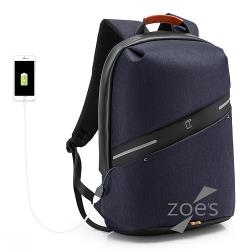 【Zoe s】首爾風尚防潑水街頭潮流電腦後背包(深邃藍)