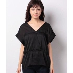 SISLEY シフォンフレンチVネックギャザーシャツ・ブラウス(ブラック)【返品不可商品】