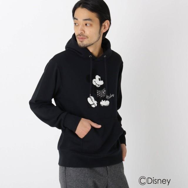 ベース コントロール BASE CONTROL DISNEY ディズニー/サガラ刺繍<ミッキーマウス>パーカー (ブラック)