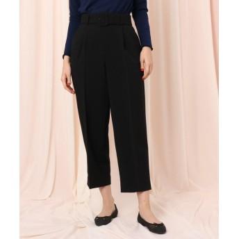 クチュールブローチ ベルテッドワイドパンツ レディース ブラック(019) 38(M) 【Couture Brooch】