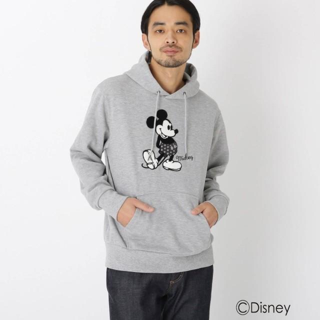 ベース コントロール BASE CONTROL DISNEY ディズニー/サガラ刺繍<ミッキーマウス>パーカー (グレー)