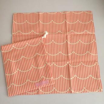 名前シール付き☆給食セット 北欧波柄 ピンク