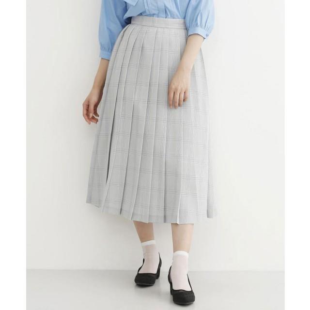 メルロー merlot 【merlot plus】チェック柄ランダムプリーツスカート (グレー)