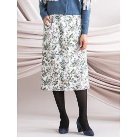 ≪洗濯機で洗える≫ストレッチジャカードボタニカルプリントスカート