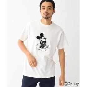 ベースステーション DISNEY ディズニー ミッキーマウス/サガラ刺繍 半袖 Tシャツ メンズ アイボリー(004) 02(M) 【BASE STATION】