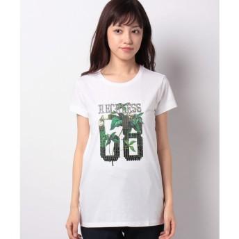 SISLEY クロスミニフリル半袖Tシャツ・カットソー(ホワイト)【返品不可商品】