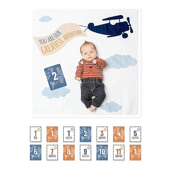 加拿大lulujo 寶寶成長包巾卡片組-飛機