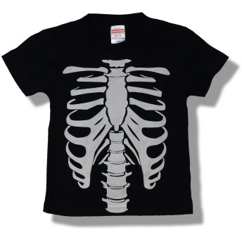 KID'STシャツ 骨 オモシロ かわいい だまし絵 Tシャツ (110)