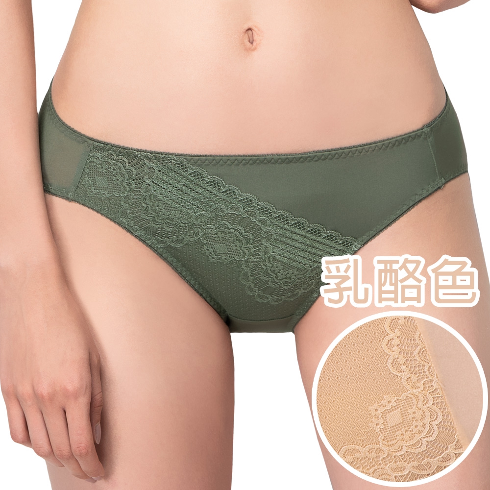 SWEAR 思薇爾 奧羅拉系列M-XL蕾絲低腰三角內褲(乳酪色)