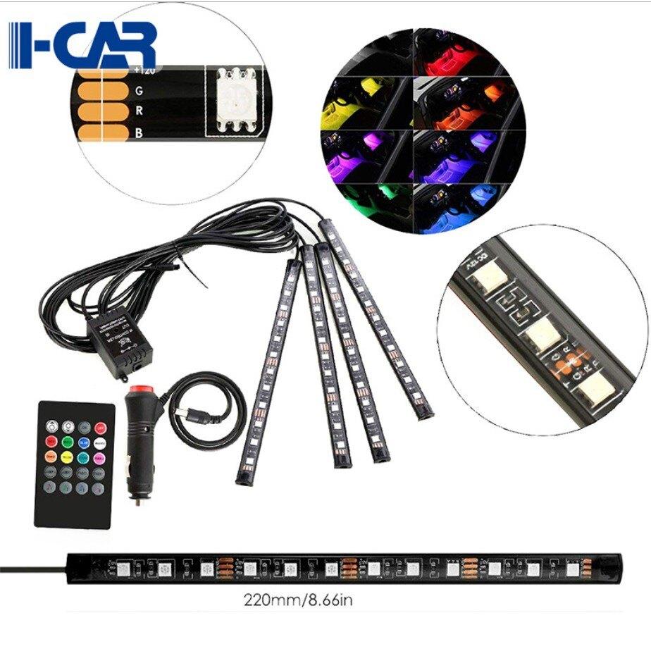 【開發票】LED 一拖四汽車氣氛燈 (4燈條)(每條 12 LED燈泡)(七彩隨聲音變化色彩)