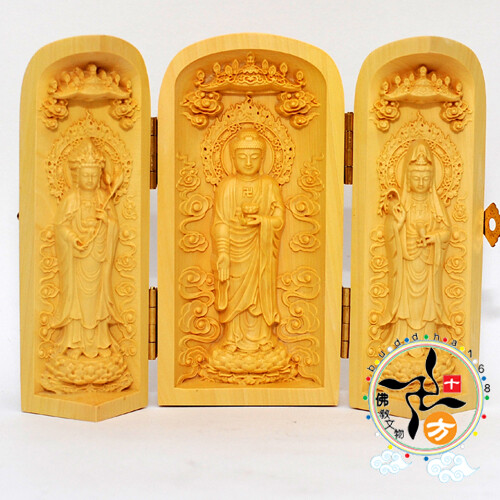 西方三聖{黃楊木}精緻小佛堂+平安加持小佛卡  十方佛教文物