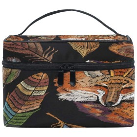部族民族動物キツネパターン 人気 化粧 ポーチ 旅行用化粧品バッグ 大容量 ビジネス 化粧 ポーチ 収納