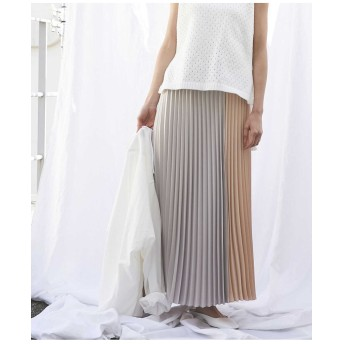 ODORANTES/サテン配色プリーツスカート