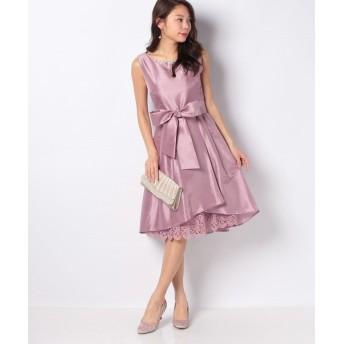 (axes femme/アクシーズファム)裾レースシャンタンドレス/レディース 淡ピンク