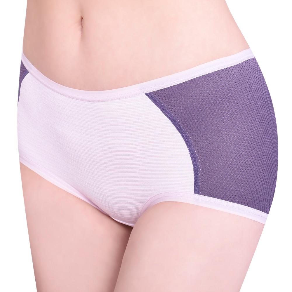 SWEAR 思薇爾 單品褲系列M-XL素面中低腰平口內褲(靄藍色)