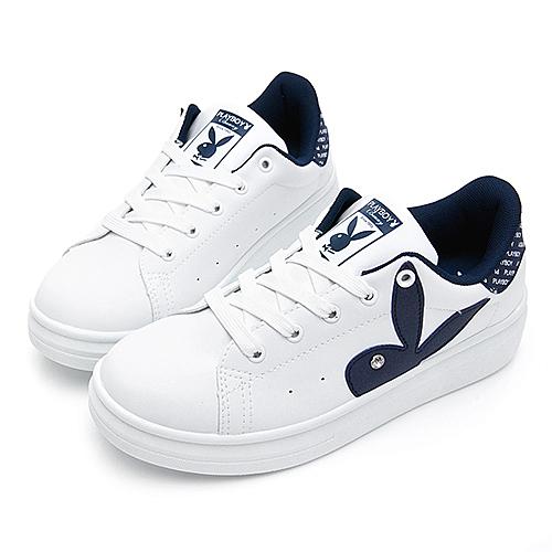 PLAYBOY 後跟品牌徽標厚底休閒鞋 白藍 Y57181F