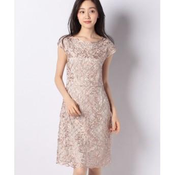 (ANAYI/アナイ) ツートンチュール刺繍ワンピース/レディース ライトピンク