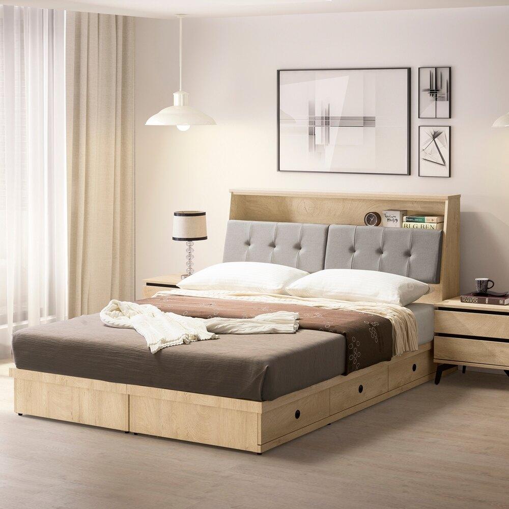 直人木業  KELLY白橡木6尺雙人加大三個抽屜床組