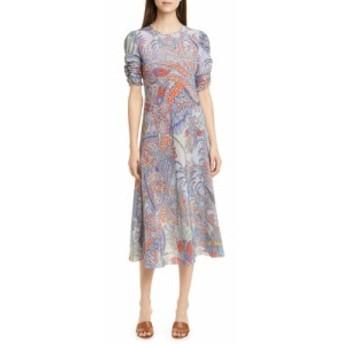 エトロ ETRO レディース ワンピース ワンピース・ドレス Paisley Print Silk A-Line Midi Dress Blue