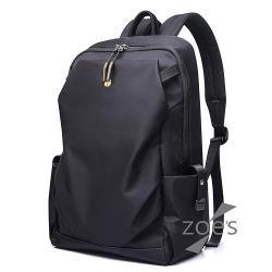 【Zoe s】首爾風尚防潑水街頭輕量電腦後背包(性格黑)