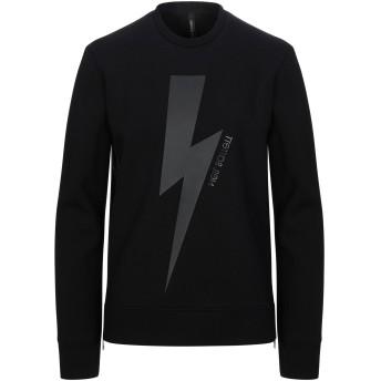 《セール開催中》NEIL BARRETT メンズ スウェットシャツ ブラック S レーヨン 95% / ポリウレタン 5% / テンセル / コットン / ポリウレタン