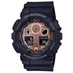 【CASIO】G-SHOCK 玫瑰金運動霧面質感雙顯錶(GA-100MMC-1A)