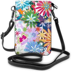 カラフルフラワー 蝶 携帯バッグ 携帯ケース フォン保護 携帯収納バッグ ボディ掛け財布 スマホバッグ ショルダーバッグ 斜め掛けバッグ 小物入れ カード入れバッグ 多機能 多用途