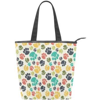 KENADVIトートバッグ 最高級 軽量 キャンバス レディース ハンドバッグ 通勤 通学 旅行バッグ、かわいい足印刷落書きパターン子供描画スタイル動物、スタイリッシュ グラフィックス 収納袋