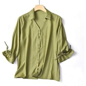 レディース トップ シャツ Vネック 長袖 無地 気質 スリム ルーズ プルオーバー カジュアル 着痩せ グリーン