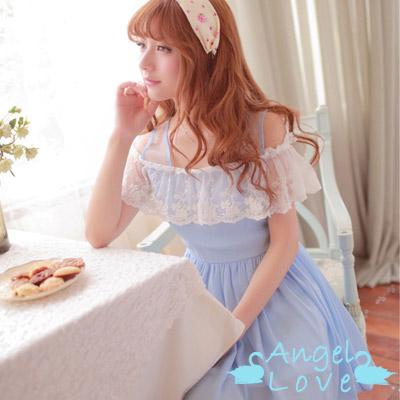 【Angel Love】甜美蕾絲荷葉露肩雪紡洋裝 (藍色)