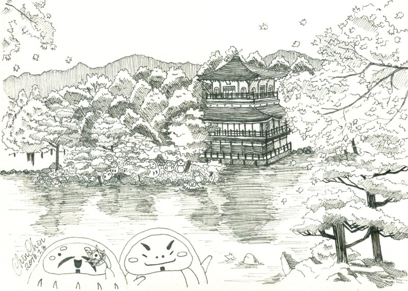 金閣寺的秋色 明信片