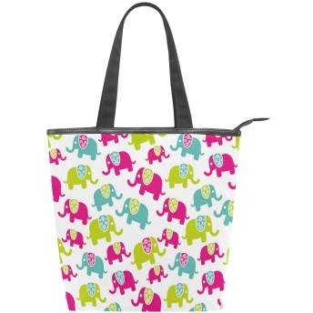 KENADVIトートバッグ 最高級 軽量 キャンバス レディース ハンドバッグ 通勤 通学 旅行バッグ、象の保育園の楽しい漫画プリント、スタイリッシュ グラフィックス 収納袋