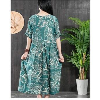 ルーズカジュアル大きいサイズドレスエスニックスタイルプリントコットンとリネン半袖ドレス (Color : Green, Size : F)