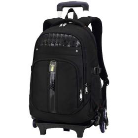 バッグパック カート 子供用 かわいい ハイキングバックパック、学生のバックパック、女の子のためのローリングバックパックキャスター付きバックパックとボーイズスクールバックパックローリングBookbagトラベルバックパックバッグトロリーバッグは、階段、黒を登ることができます