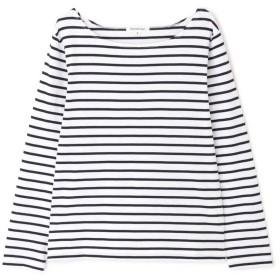 【公式/NATURAL BEAUTY BASIC】[洗える]ベーシックボーダーロンT/女性/Tシャツ/オフ×ネイビーボーダー/サイズ:M/コットン 100%