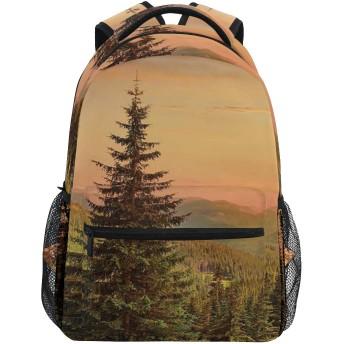 NR 新しい軽量おしゃれ学校バックパックモミの木のある天国のような景色旅行ハイキングキャンプバッグ多機能 遠足 おしゃれ