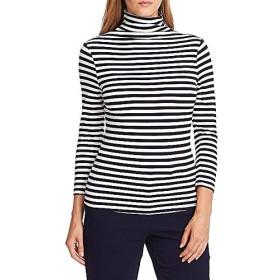 ヴィンスカムート トップス Tシャツ 3/4 Sleeve Mock Neck Striped Knit Top Caviar レディース [並行輸入品]