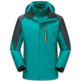 メンズスキージャケット レインコートマウンテンハイキングウォーキング旅行レジャーマルチポケットアウトドアジャケット防水ジャケット、防風スキー雨雪ジャケット冬暖かいフリースジャケット付きフード 多機能 (Color : Peacock blue, Size : XL)