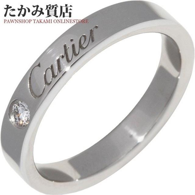 カルティエ 指輪 リング Pt950 ダイヤ1P 0.03ct エングレーブドリング 幅3ミリ B40513 #46 6号