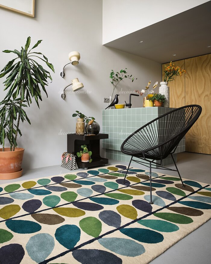 英國Orla Kiely羊毛地毯 Multi Stem Kingfisher 059507 北歐復古 藍綠葉子