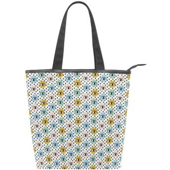 KENADVIトートバッグ 最高級 軽量 キャンバス レディース ハンドバッグ 通勤 通学 旅行バッグ、まつげ落書きヒップスタードットプリント、スタイリッシュ グラフィックス 収納袋