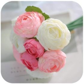 人工花の装飾、10頭ブライダルブーケフラワーウェディングシルクフェイクロータスシミュレーションバラの花輪花輪インテリア・ピンク