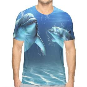海洋海洋イルカ M Tシャツ トップス クルーネック みんな スポーツシャツ 半袖 シンプル 個性 無地 おしゃれ アウトドア 春夏 ハイクオリティー ライトウェイト