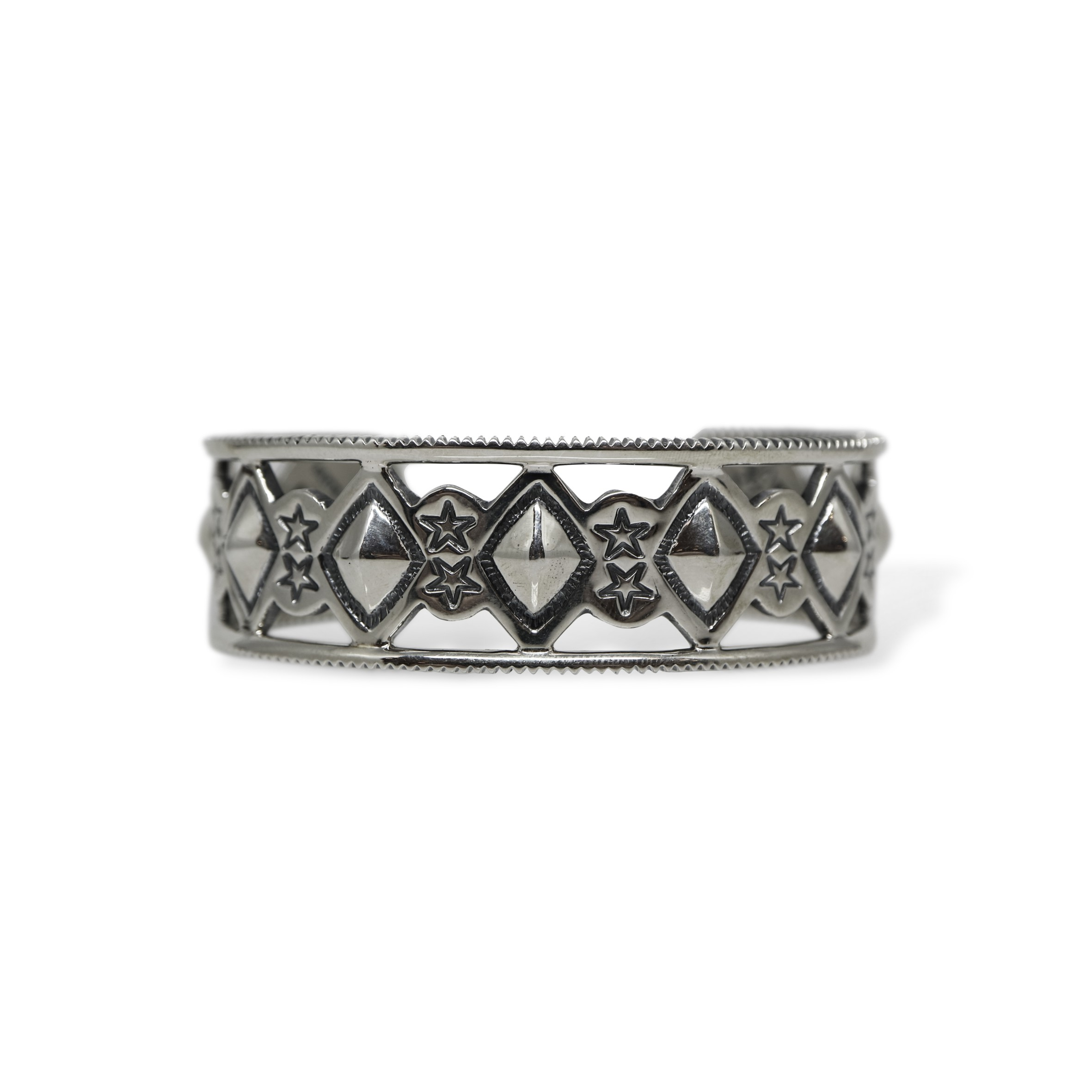 CUT OUT DIAMONDS & STARS W / COIN EDGE CUFF  [USD $1420]