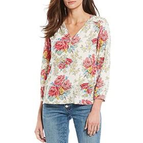 ラッキーブランド トップス Tシャツ Floral Print 3/4 Sleeve Smocked Peasant Multi レディース [並行輸入品]