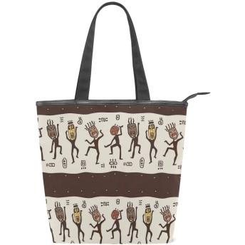 KENADVIトートバッグ 最高級 軽量 キャンバス レディース ハンドバッグ 通勤 通学 旅行バッグ、部族のマスクを着ている民族の踊る人々、スタイリッシュ グラフィックス 収納袋