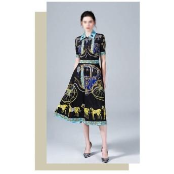 気質の服を細くするばねおよび夏のキャリッジ印刷 (Color : Black, Size : L)