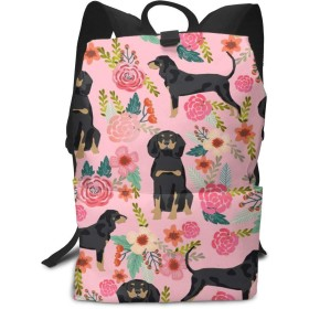 10代の大規模なカジュアルな耐久性のあるデイパック旅行リュックサックのためのクーンハウンドブラックとタン犬の品種花ピンク中学校バックパック